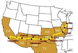 Sanjska potovanja, Združene države Amerike, Potoavnje prek ZDA, Route 66